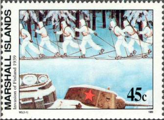 Winterkrieg - Eine finnische Skipatrouille hinter abgeschossenen sowjetischen Panzern