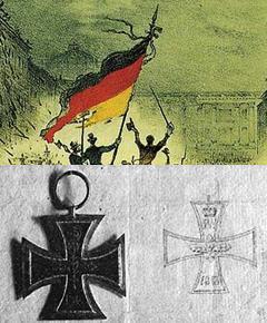 Die nationalen Logos: Bundesflagge und Eisernes Kreuz